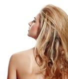 Profiel van blonde vrouw met lang haar Stock Foto