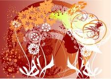 Profiel van een meisje onder de bloemen Royalty-vrije Stock Afbeelding