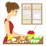 Profiel van een mooie dame Het meisje bereidt een heerlijke maaltijd voor de familie voor Zij maakt varenikipastei met kersen A royalty-vrije illustratie
