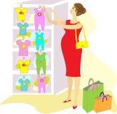 Profiel van een mooie dame Een zwangere vrouw, koopt zij kleren voor haar kind Kies in de de opslagschuiven en T-shirts Zij is a stock illustratie