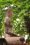 Profiel van een Oud Beeldhouwwerk van Boedha in Wat Mahathat Yuwaratra Stock Fotografie