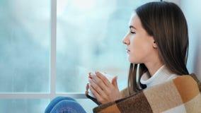 Profiel van eenzame aanbiddelijke vrouw die warme sweaterzitting op vensterbank en het denken dragen stock videobeelden