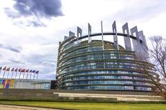 Profiel van het het Europees Parlement gebouw Stock Fotografie