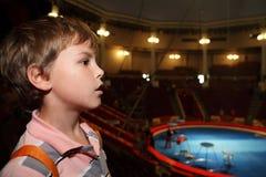 Profiel van jongen in circus dat kant bekijkt Royalty-vrije Stock Foto