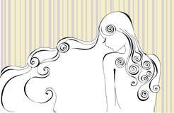 Profiel van meisjes`s gezicht & haar vector illustratie