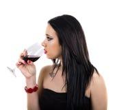 Profiel van mooie meisje het drinken wijn Royalty-vrije Stock Fotografie