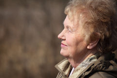 Profiel van oude vrouw Stock Afbeeldingen