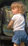 Profiel van peuter met lang krullend haar Royalty-vrije Stock Afbeeldingen