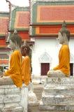 Profil : 3 Buddhas au Musée National de Wat Pra Bronathatchaiya, Thaïlande Photographie stock