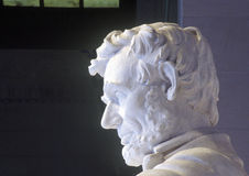 Profil av Abraham Lincoln i Lincoln Memorial Washington D C Royaltyfri Bild