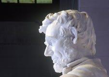 Profil av Abraham Lincoln i Lincoln Memorial Washington D C Royaltyfri Bild