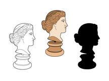 Profil av den forntida statyn Royaltyfri Bild