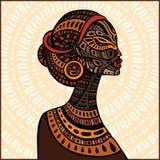 Profil av den härliga afrikanska kvinnan Royaltyfri Bild