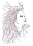 Profil av den härliga kvinnan med vinkande hår Grafisk stil Royaltyfria Bilder