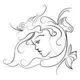 Profil av en flicka med fjärilar Arkivbild