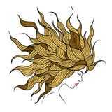 Profil av en härlig flicka med långt hår Royaltyfria Foton