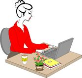 Profil av en s?t dam Unga flickan p? arbete i kontoret sitter p? en tabell och arbeten p? datoren ocks? vektor f?r coreldrawillus royaltyfri illustrationer