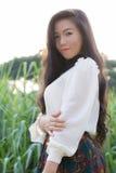 Profil av en ung asiatisk kvinna Arkivbild