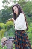 Profil av en ung asiatisk kvinna, för diagram Fotografering för Bildbyråer