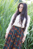 Profil av en ung asiatisk kvinnablick Arkivbilder