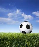 Profil av fotbollbollen i gräs mot blå himmel Royaltyfri Bild