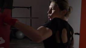 Profil av härlig attraktiv blond kvinnaboxning i en idrottshall som blir passformen i ultrarapid - lager videofilmer