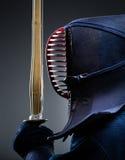 Profil av kendokämpen med bokuto Arkivfoton