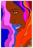 Profil av kvinnan på färgrik bakgrund Arkivbild