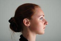 Profil czerwona dziewczyna Fotografia Stock