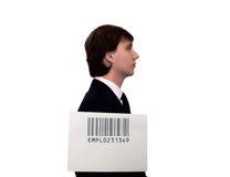 Profil d'homme d'affaires avec le code barres Photographie stock libre de droits
