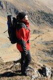 Profil d'homme de sac à dos Photographie stock