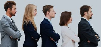 Profil d'une équipe d'affaires dans une ligne simple Photographie stock libre de droits