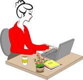Profil d'une dame douce La jeune fille au travail dans le bureau s'assied ? une table et aux travaux ? l'ordinateur Illustration  illustration libre de droits