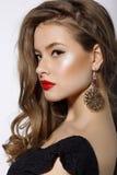 Profil de brune chique respectable avec des boucles d'oreille Photographie stock
