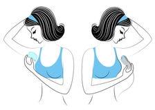 Profil de deux filles Les dames font le dépilage des underarms eux-mêmes Enlevez les cheveux avec un gel, une cire et un epilator illustration libre de droits
