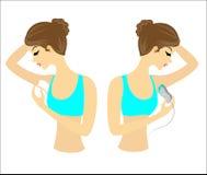 Profil de deux filles Les dames font le d?pilage des underarms eux-m?mes Enlevez les cheveux avec un gel, une cire et un epilator illustration de vecteur