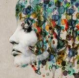 Profil de femelle d'aquarelle Image libre de droits