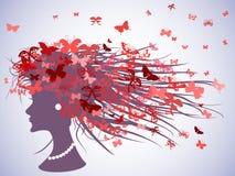 Profil de femme avec des cheveux de papillons Images libres de droits