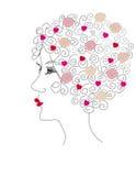 Profil de femme avec des roses dans le cheveu Images libres de droits