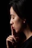 Profil de femme avec le doigt photos stock