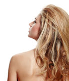 Profil de femme blonde avec le long cheveu Photo stock