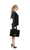Profil de femme d'affaires avec le cas Images stock
