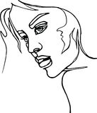 Profil de femme, dessin au trait continu Photo stock