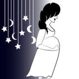 Profil de femme enceinte et de silhouette des jouets illustration stock