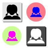 Profil de femme Icône plate de vecteur illustration stock
