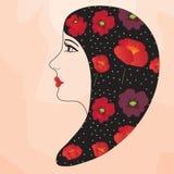 Profil de fille avec la conception de pavot Photo libre de droits
