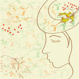 Profil de fille dans la conception automnale Image libre de droits