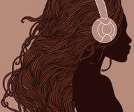 Profil de jolie fille d'afro-américain dans des écouteurs Image libre de droits