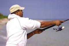 Profil de pêcheur images libres de droits