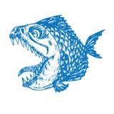 Profil de poissons de piranhas, bouche ouverte avec les dents pointues et languette longue, croquis tiré par la main drôle de gri illustration libre de droits